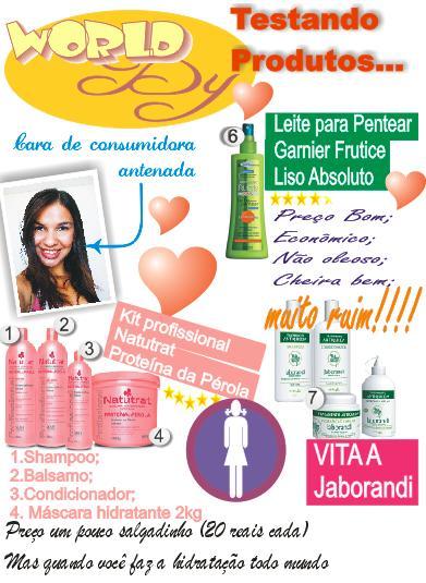 teste com produtos para cabelos secos garnier frutice spray, natutrat brilho proteína da pérola, vita a jaborandi,